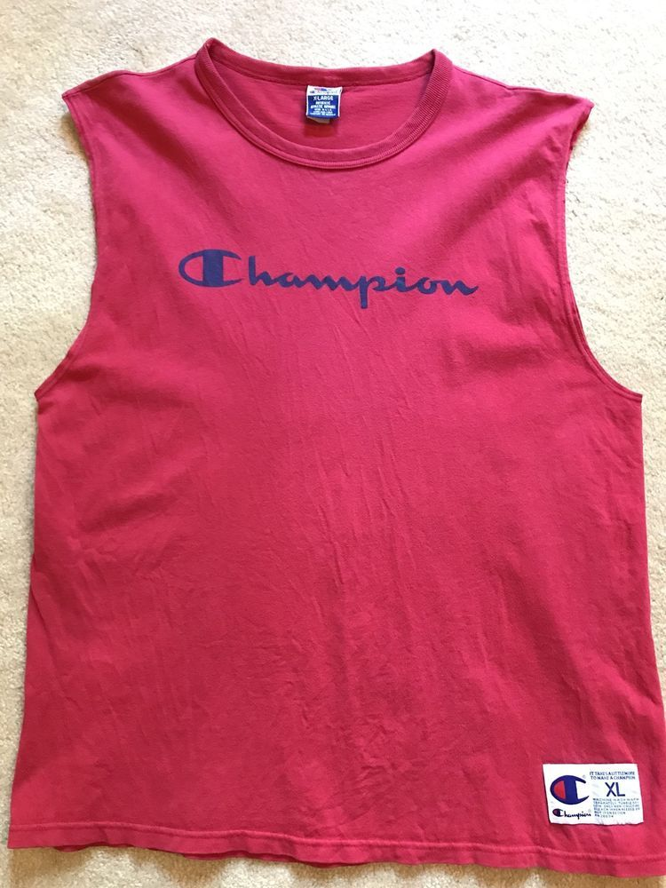 fdd9f901 Vintage 90s Champion Tank Top Sleeveless Made In USA Spellout Size XL Red  Blue #fashion #clothing #shoes #accessories #mensclothing #shirts (ebay  link)