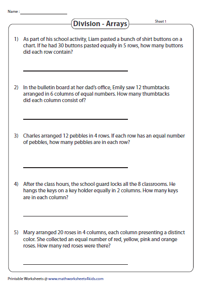 Division Array Models Printable Resources Division Word Problems Arrays Division Word Problems