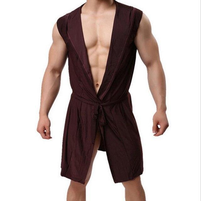 Z men s bathrobe ice silk hooded pajamas sexy thin section kimono bathrobe  man s gown roupao large size solid Bath robe 3fad2651c