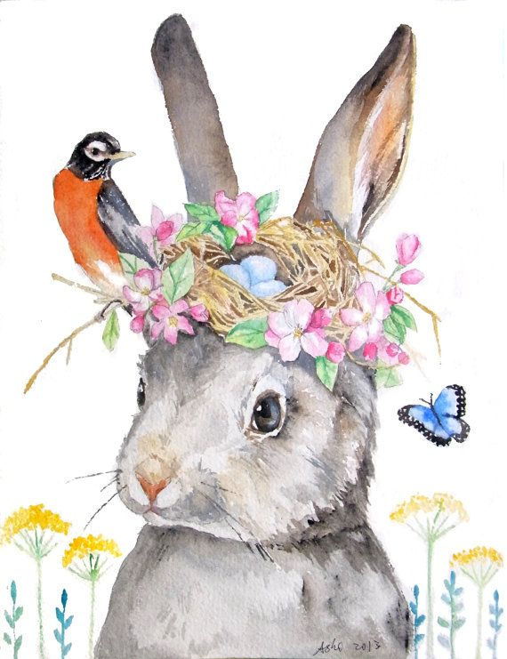 ooak-Original Rabbit and Robin Nest Illustration Art 8 x 10