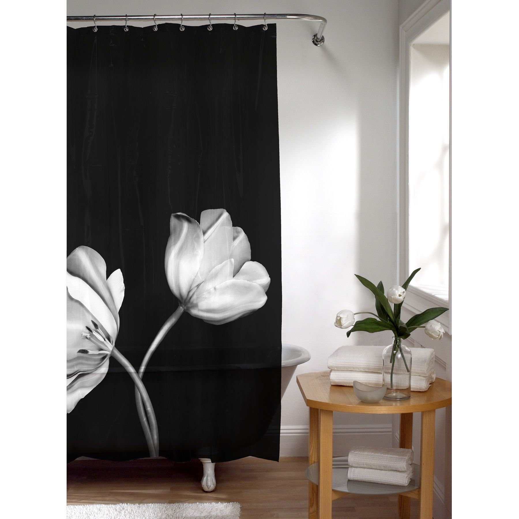 Maytex Tulip Photoreal PEVA Vinyl Shower Curtain In Black