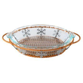 Pyrex 9.5-in. Snowflake Pie Plate Basket Set