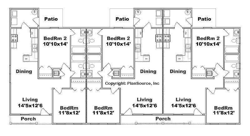 Triplex plan j891 t 2 bedroom 2 bath per unit multi for Four unit apartment building plans