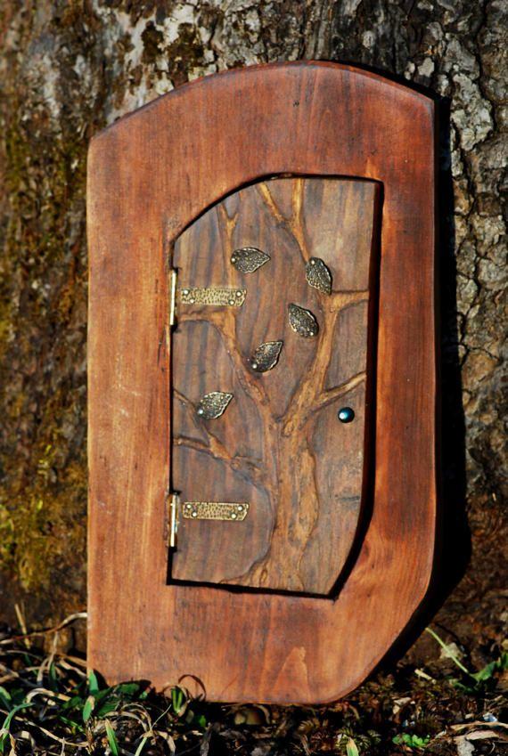 Wooden Fairy Door, Natural Wood Fairy Garden Door, Fairies