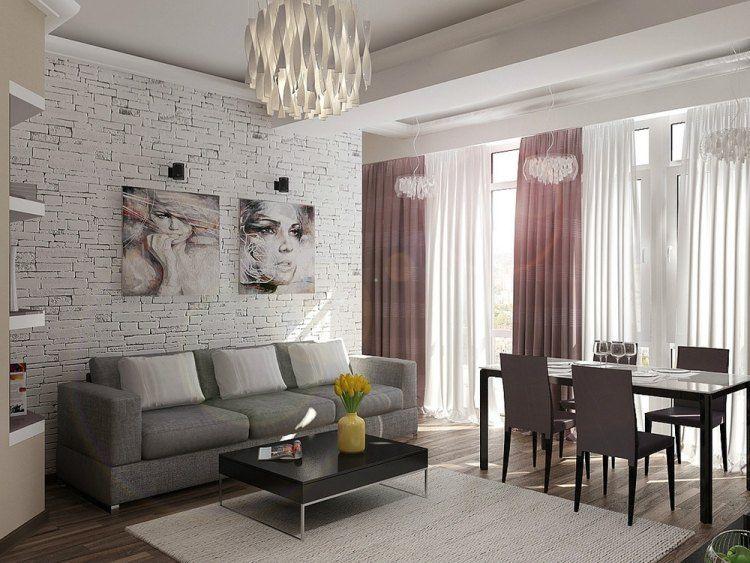 wohnzimmereinrichtung-ideen-weisse-steinwand-graues-sofa-rosa, Wohnzimmer