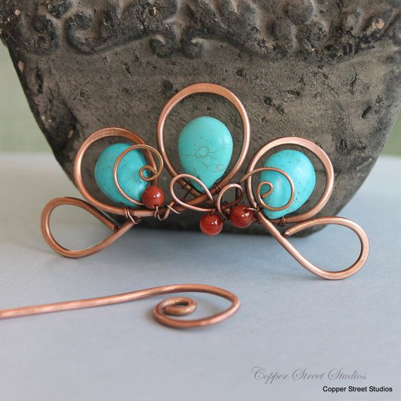 Boho Hair Clip, Beaded Hair Barrette, Turquoise Hair Jewelry, Flower, Hair Slide, Copper Hair Pin, Hair Accessories for Women Gift