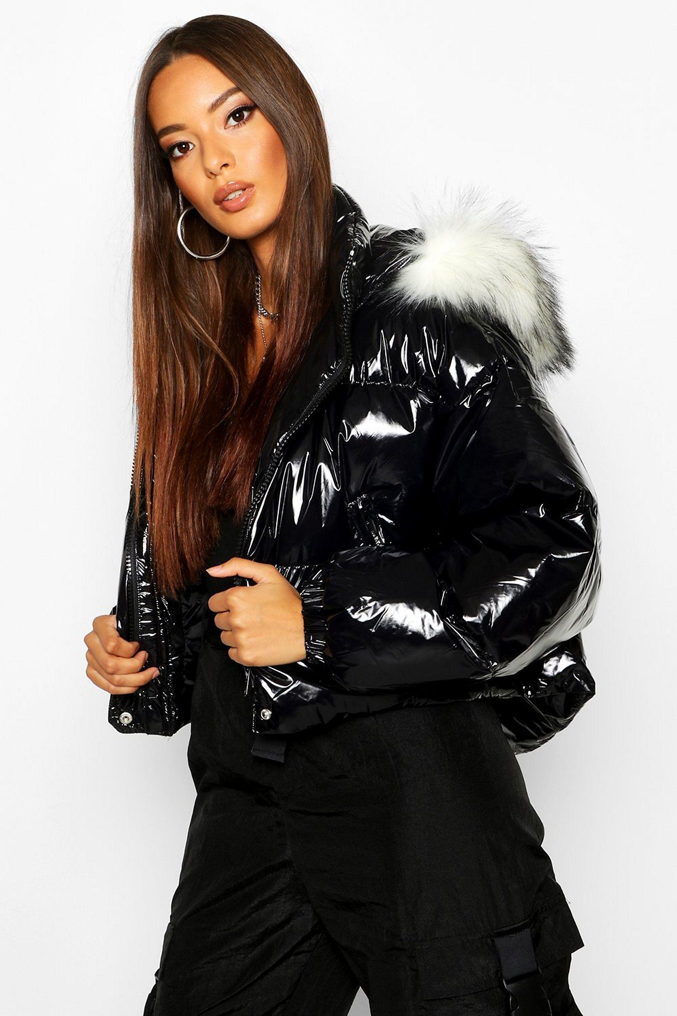 Crop Vinyl Faux Fur Trim Puffer Jacket Boohoo Uk In 2020 Moncler Jacket Women Puffer Jackets Cute Swag Outfits