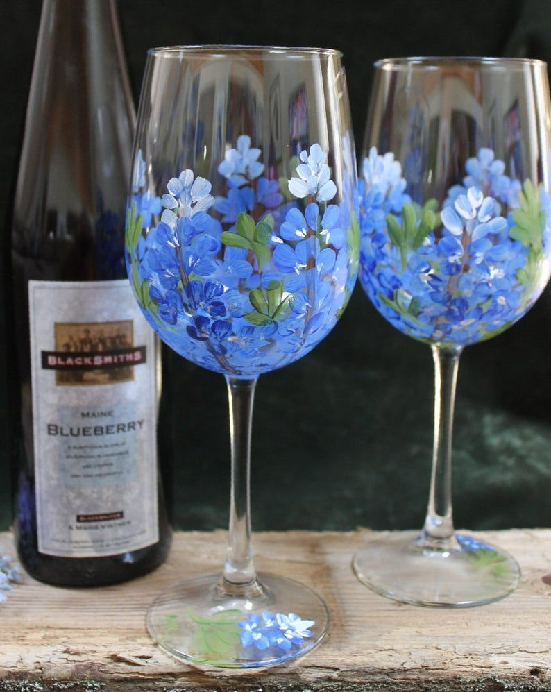 Set of 2 Hand Painted Wine Glasses Bluebonnets