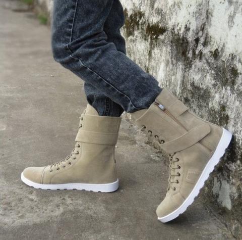mens trendy hightop casual lace zip velcro boot shoe