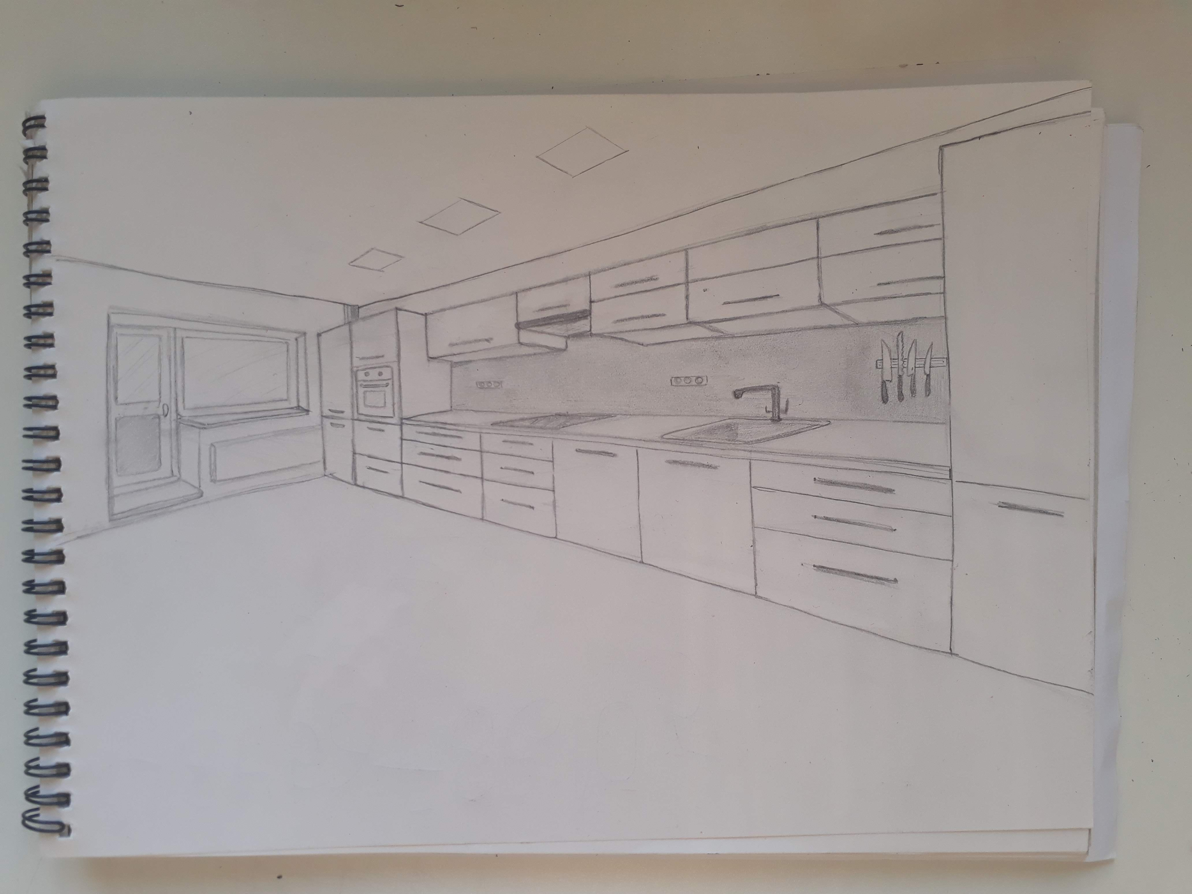 Our Kitchen 2 Point Perspective Drawing Nyc Interior Design