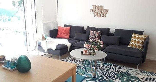 —@nuances_chez_manuela - Salon : elle est enfin là...la méridienne #soderhamn samsta gris coordonnée à mon canapé. C'est l'endroit idéal pour regarder la télé ! #ikea #decorationinterieur #mymdm #bienchezsoi