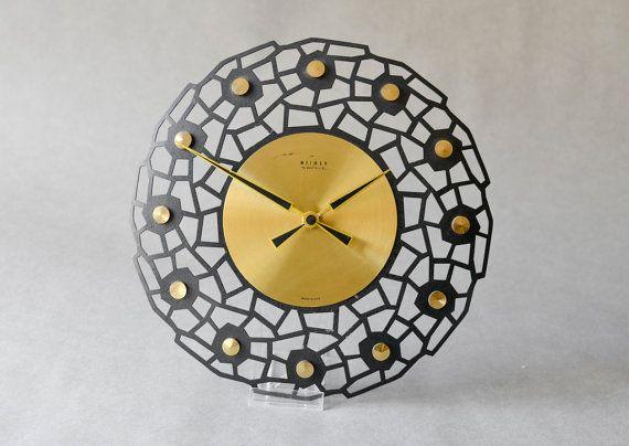 Vintage brass wall clock Weimar starburst