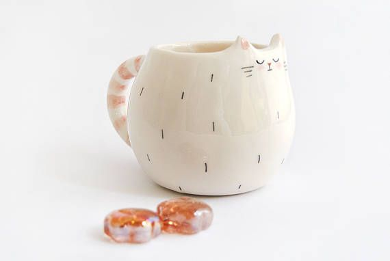 White Dreamer Cat Mug, with Pink Striped Tail in White Clay. Cat Cup with Pink Stripes . Made to Order
