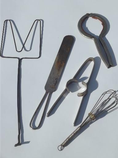 old antique kitchen tools utensils lot, vintage kitchenware