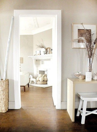 Simple Room Colour: White Trim - Greige Walls - Dark Honey Floors