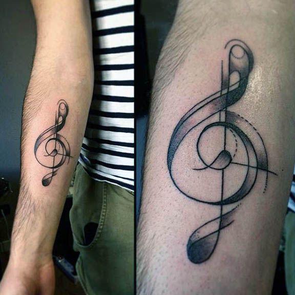 80 Treble Clef Tattoo Designs For Men - Musical Ink Ideas | Treble ...