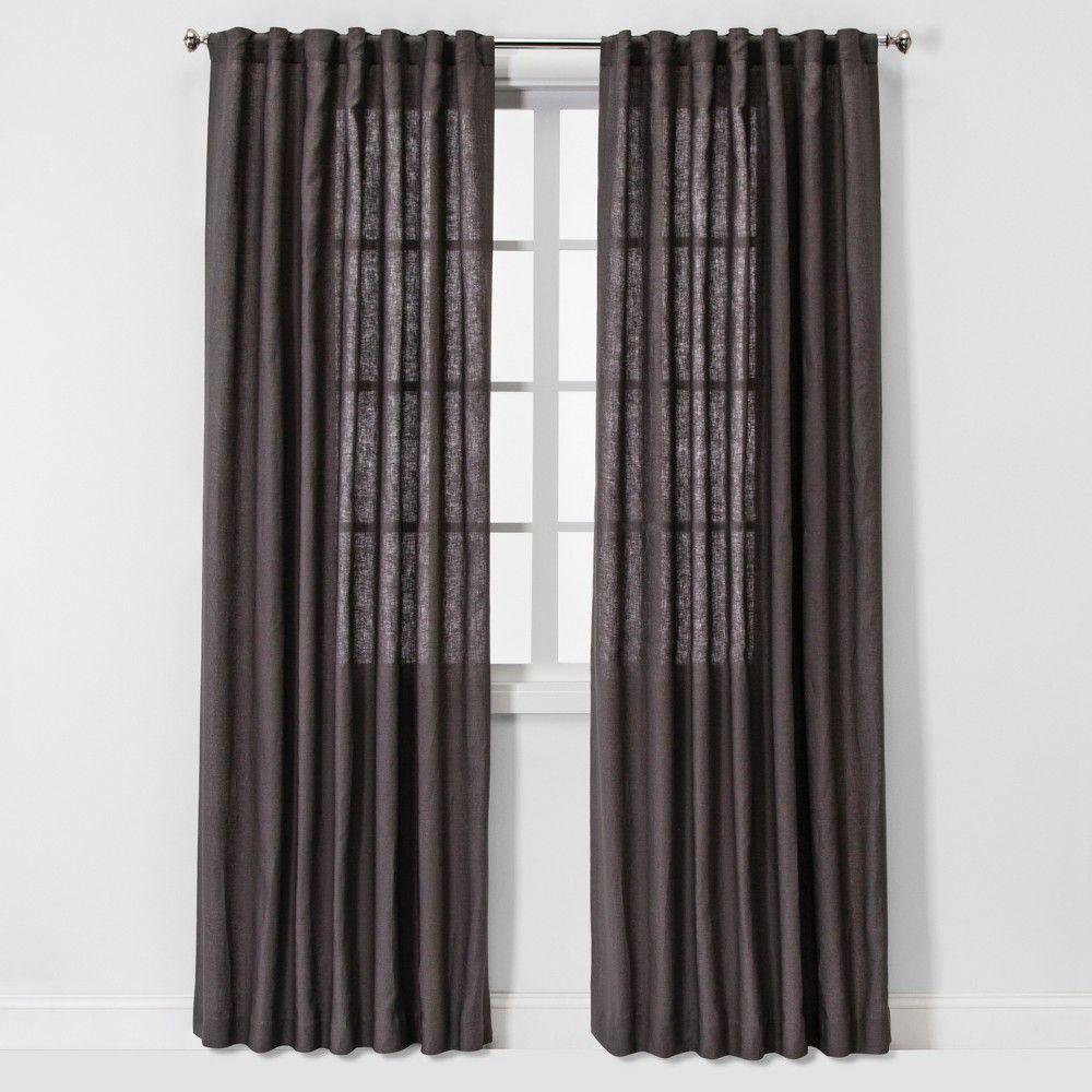 95 X54 Light Filtering Linen Window Curtain Panel Brown Dark Gray