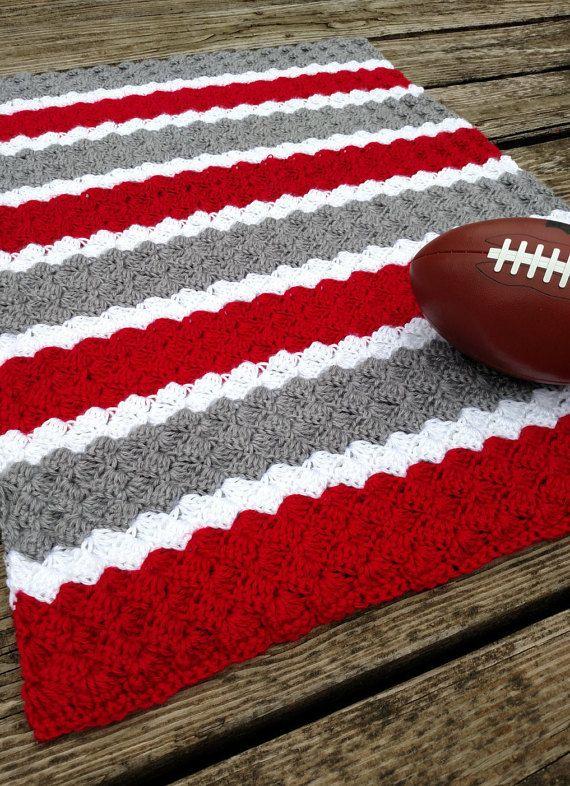 Ohio State Striped Crochet Blanket - Knit Baby Afghan - Buckeyes ...