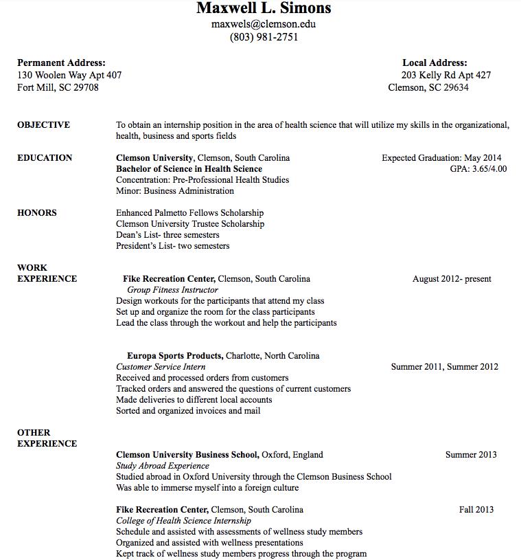 Free Resume Samples · Maxwell L. Simons Maxwels@clemson.edu (803) 981 2751  Permanent