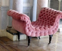 pink seat - reminds me of an old movie prop - makes me smile :  )