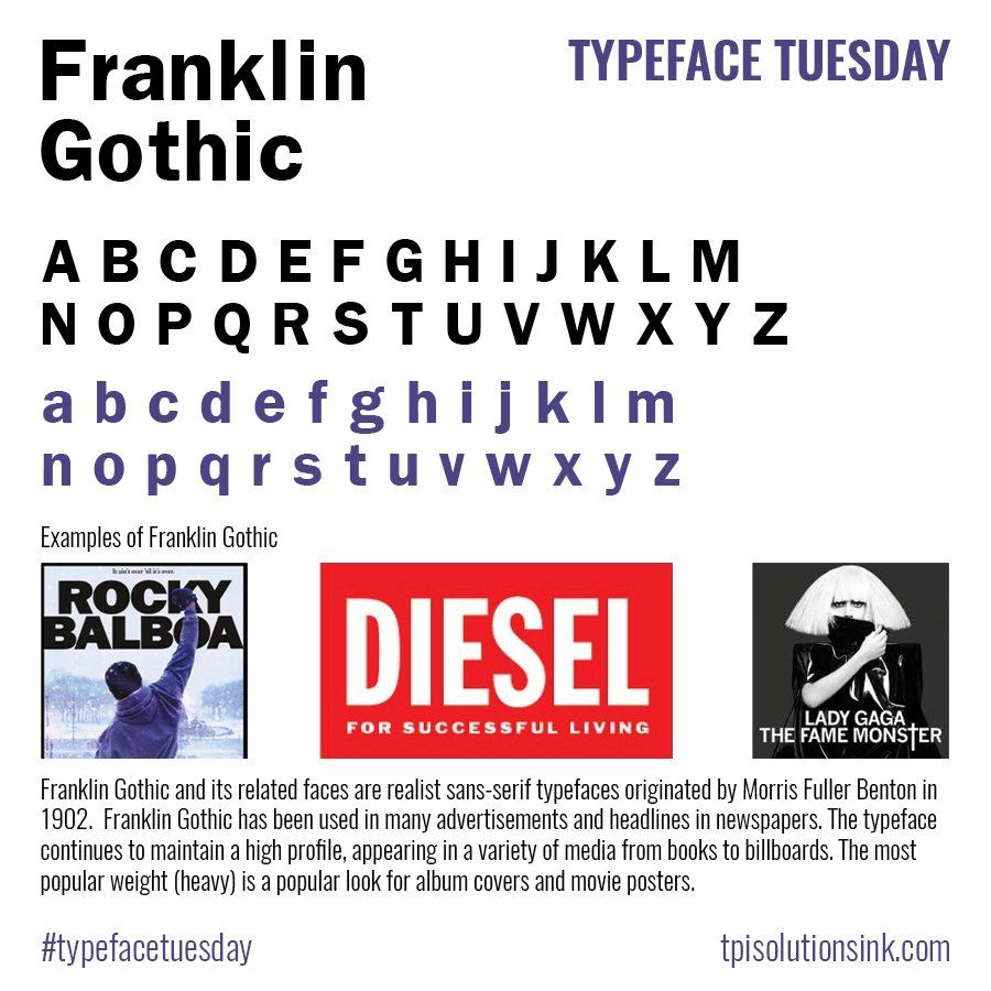Franklin Gothic, a classic sans serif #typeface that is one