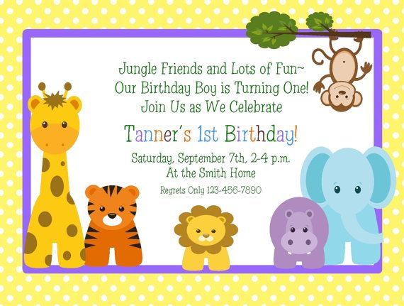jungle animals 1st birthday invitation