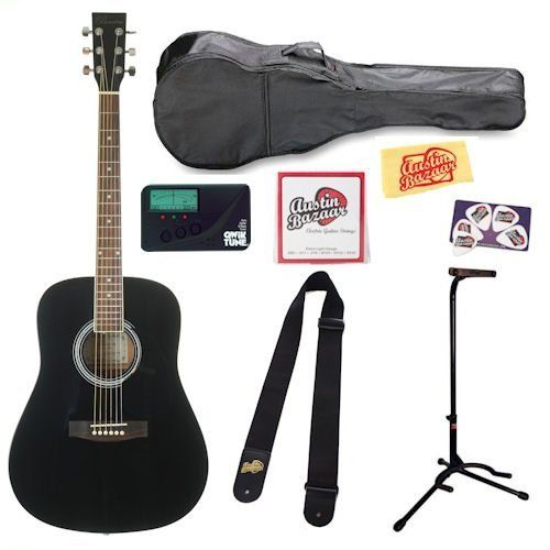 Barcelona D 100 Full Size Dreadnought Acoustic Guitar Bundle With Tuner Stand Gig Bag Strap Strings Pick Card And Pol Guitar Acoustic Guitar Guitar Stand