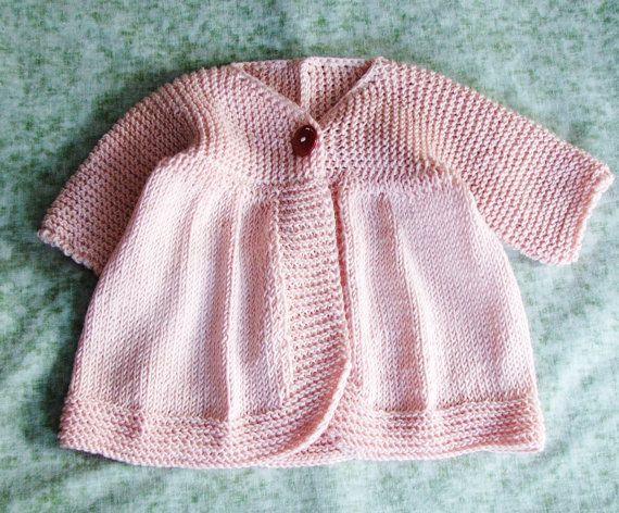 7928d31a0 Hand Knitted Baby Girl Sweater - Pale Peach Hand Knitted Single ...