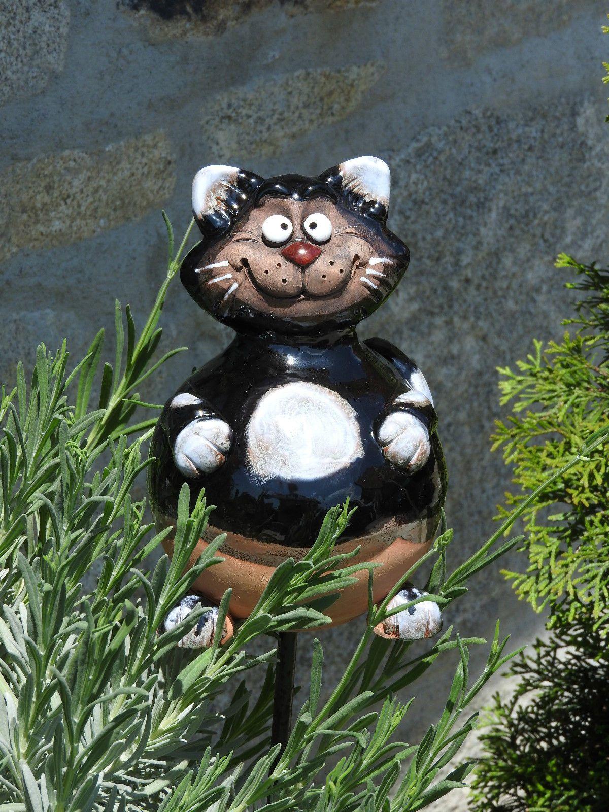 Keramik Katze Schwarz Gartenkugel Kater Dekoration Garten Terrasse Tiger Deko Ebay Deko Katze Gartenkugeln Keramik