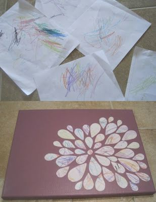 Using child's scribbles for art.