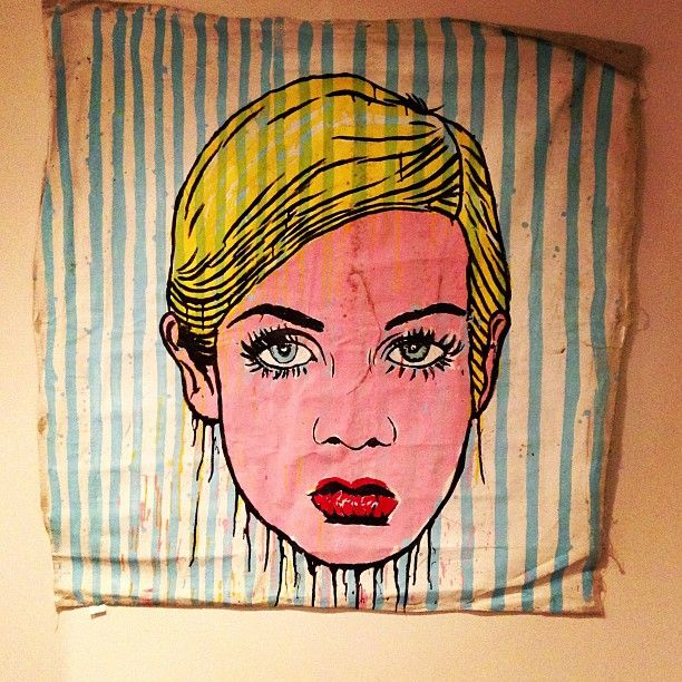 Sear sucker twiggy hangin in my bedroom! #alecmonopoly #twiggy #weathered #original #canvas #2008 - @alecmonopoly- #webstagram