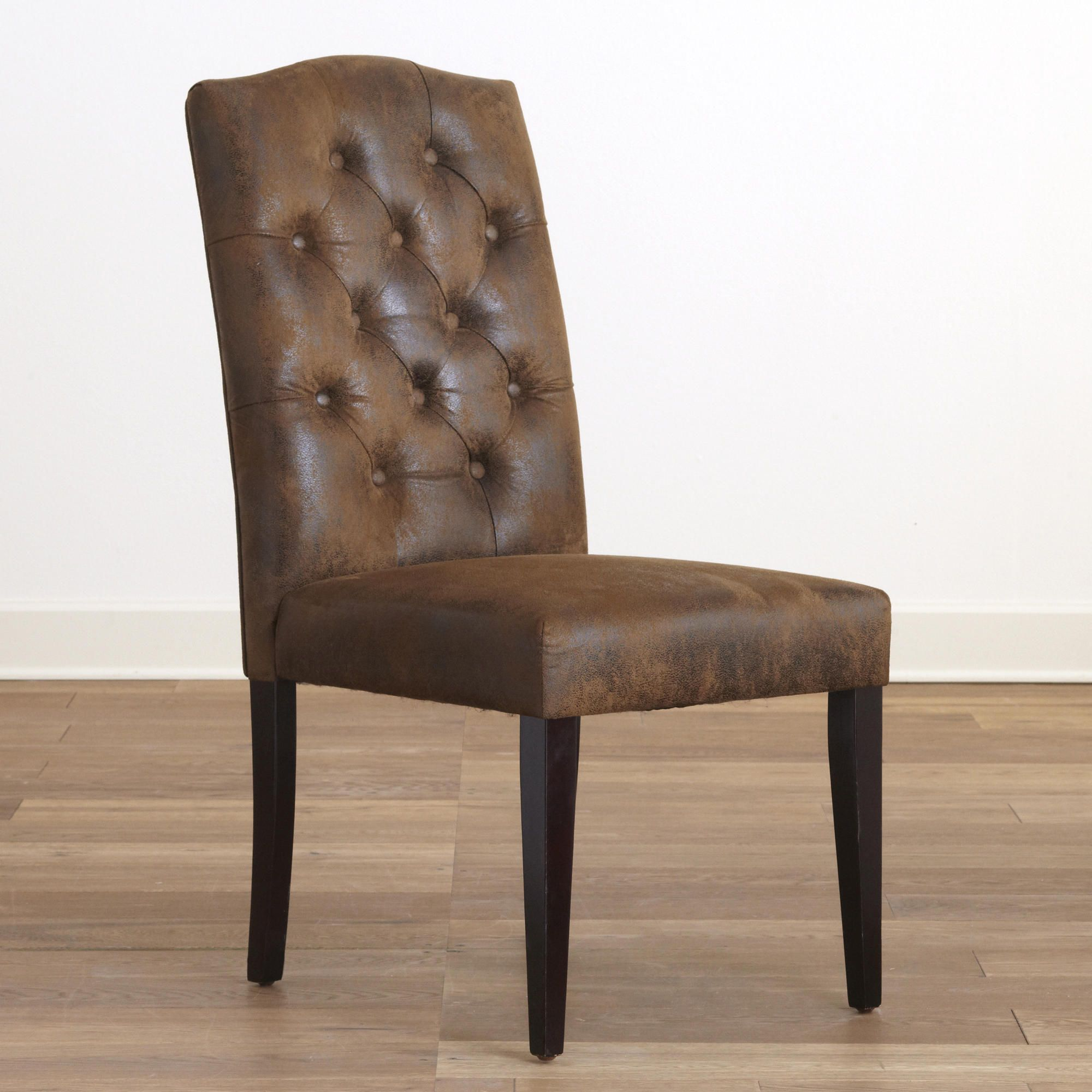 Leather Tufted Dining Chair Desk In Kitchen Microfiber Set Of 2