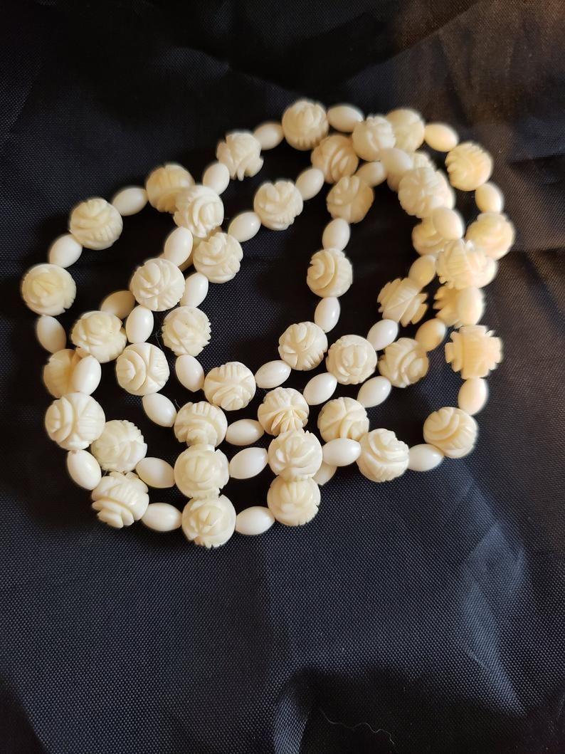 1920s Hand Carved Cabbage Rose Necklace Artisan Carved Bone Etsy Vintage Beads Necklace Art Deco Necklace Rose Necklace