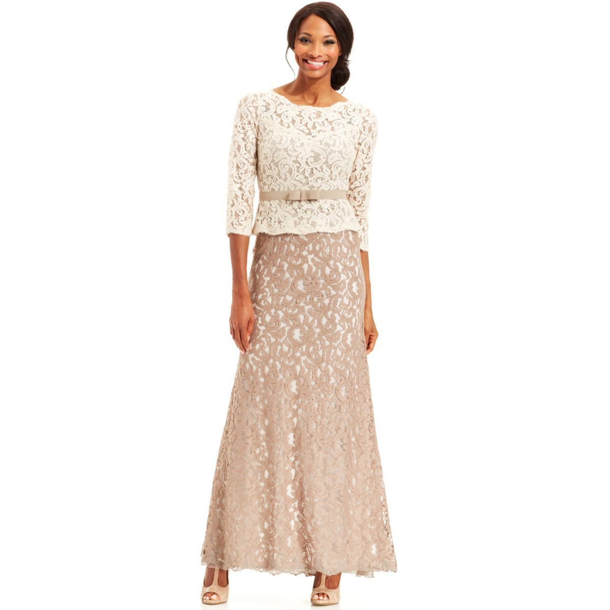 Beca Desfiladero cocinero  Adrianna Papell Lace Colorblock Belted Peplum Gown   Lace gown, Ball gowns,  Bride dress lace