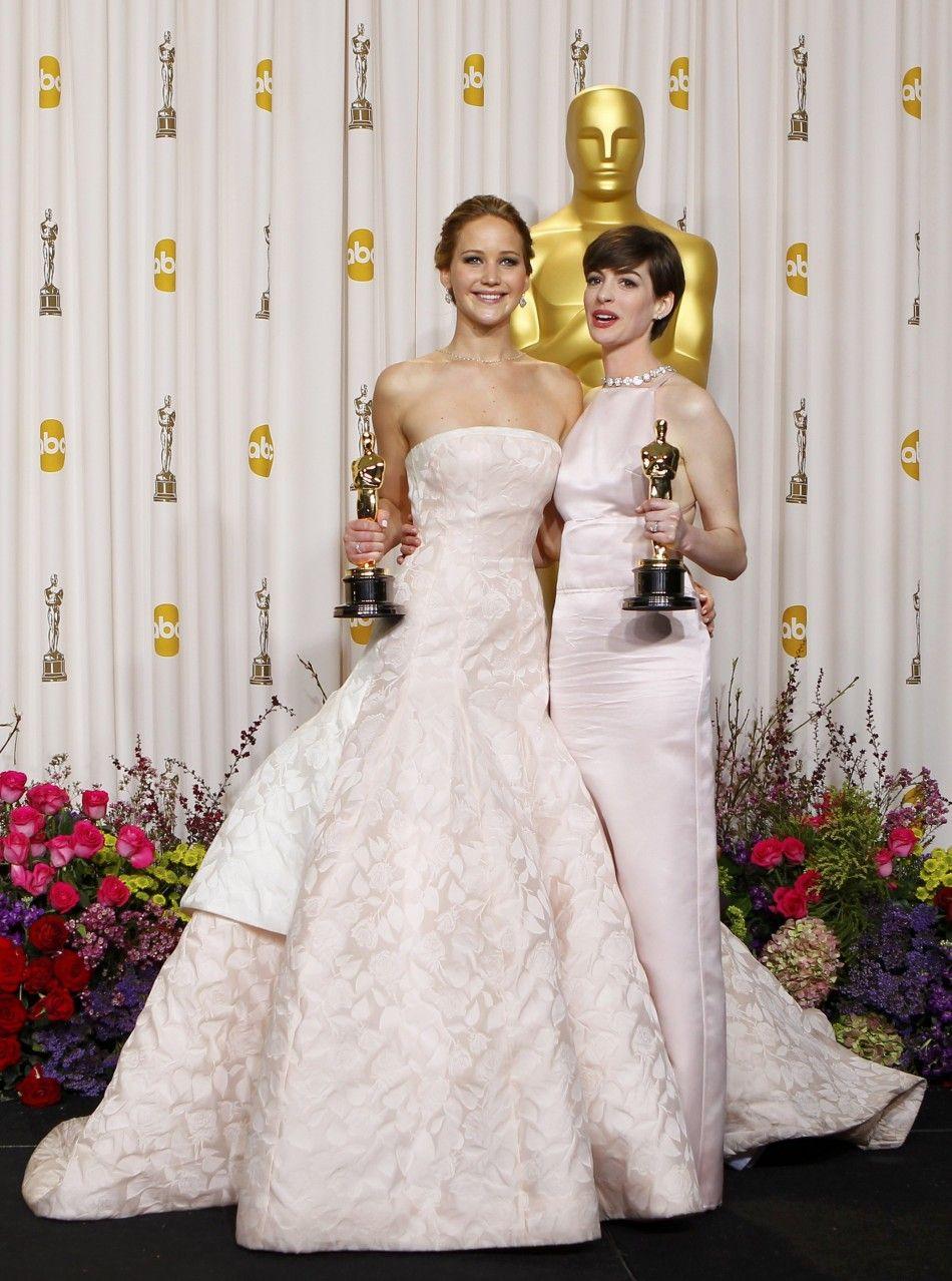 Jennifer Lawrence & Ann Hathaway | Vestidos de glamour ...