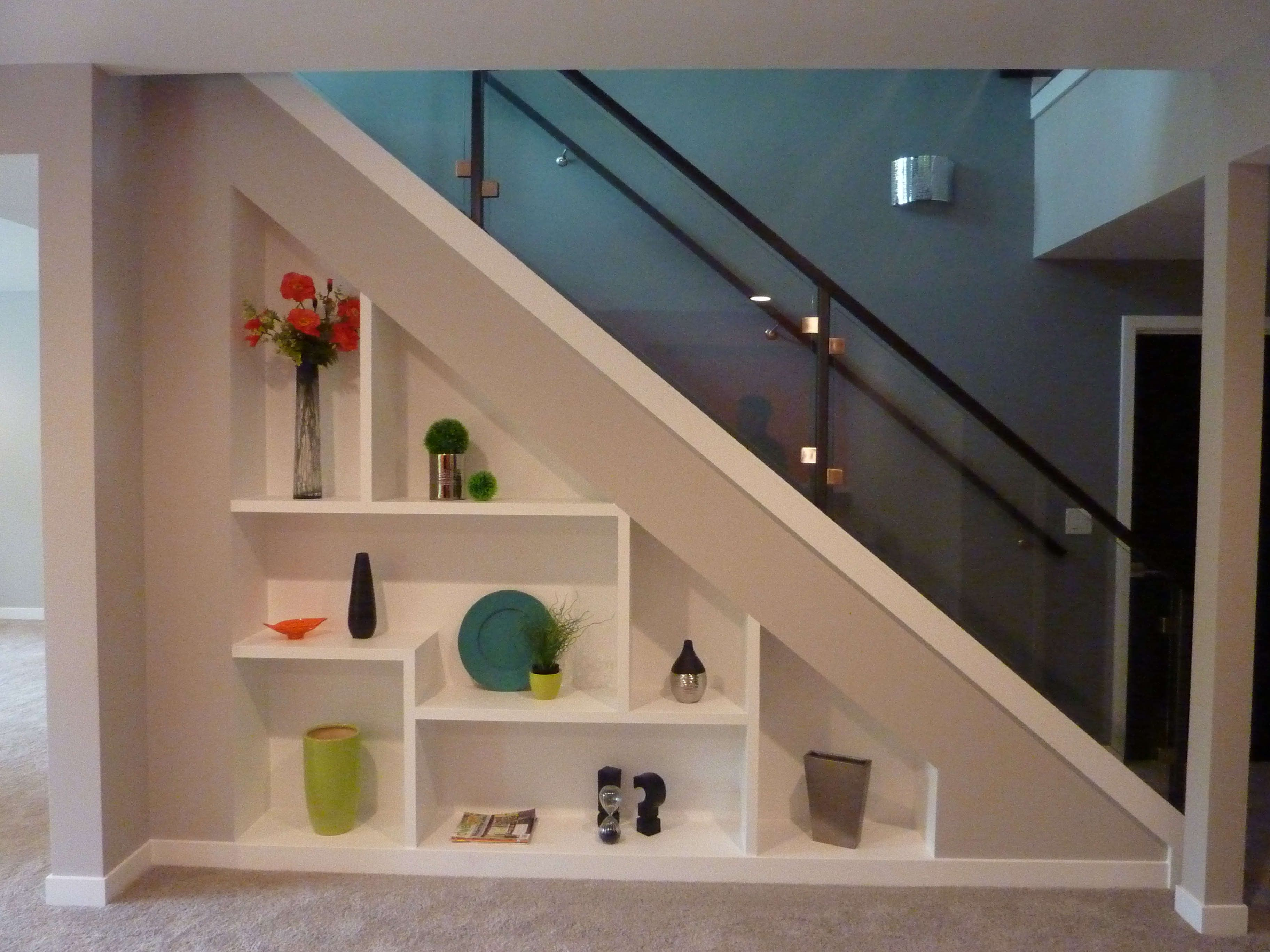 Modern Storage Under Stair With Plaid White Shelves And Glass