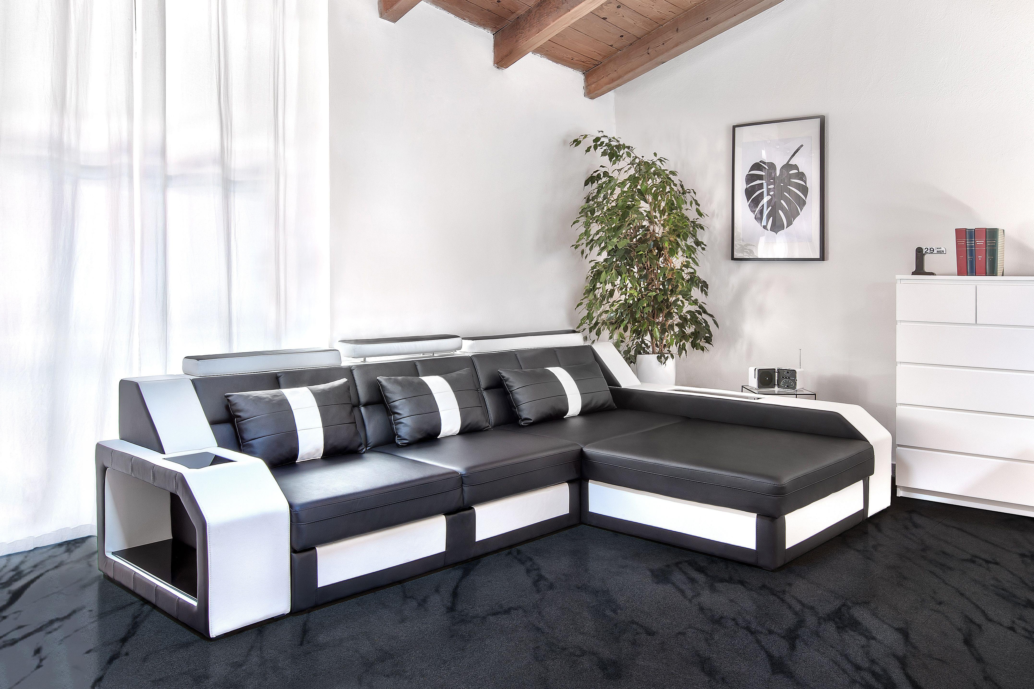 Divano Nero E Bianco : Antares divano angolare nero e bianco disponibile in diversi