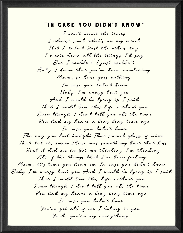 In Case You Didn T Know Brett Young Lyrics Digital Printable