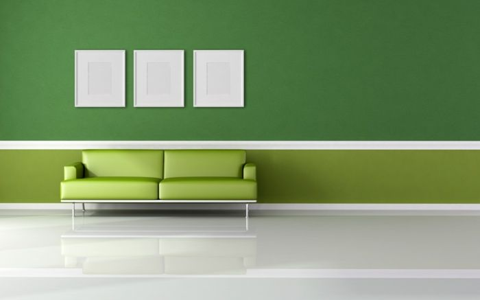 Farbgestaltung Wohnzimmer Wandgestaltung Wanddesign Grne Hell Dunkel