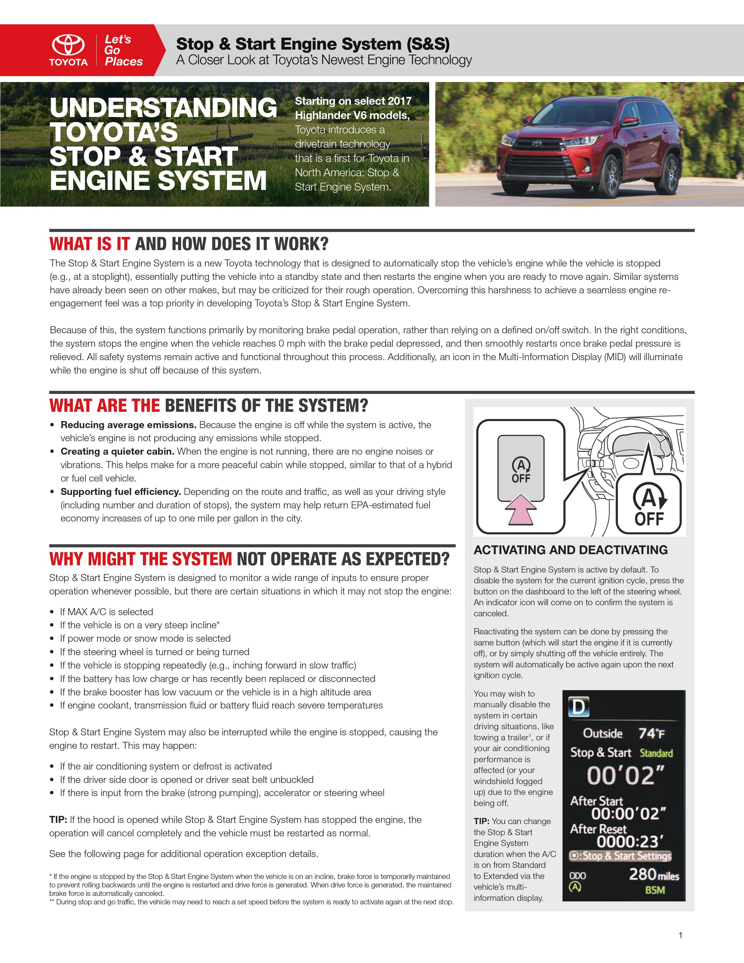 Here S An Explanation Of The Toyota Stop And Start Engine System