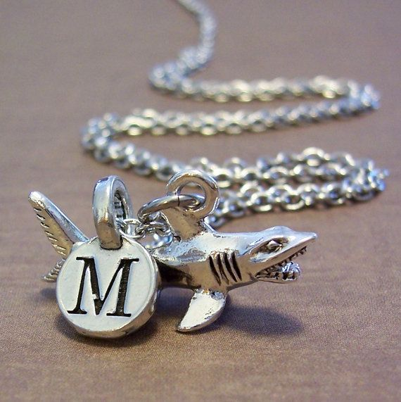 Personalized Shark Charm Necklace, Silver Shark Jewelry, Monogrammed Initial, Personalized Gift, Silver Shark Charm on Etsy, $15.00