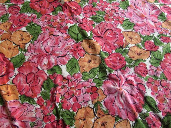Splashy Vintage Mid Century Fabric  Bright by LittleCabinDryGoods