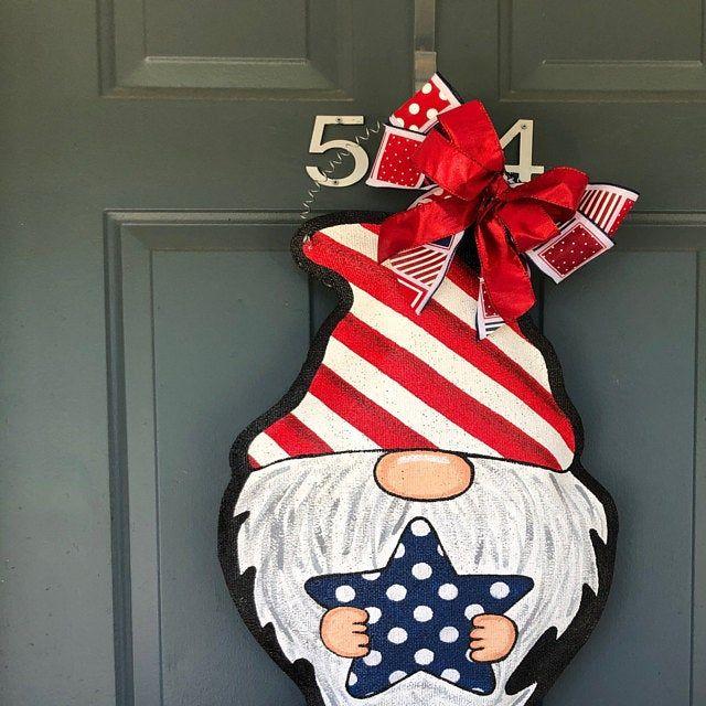 Patriotic Gnome Burlap Door Hanger Spring Wreath Summer Decor In 2020 With Images Burlap