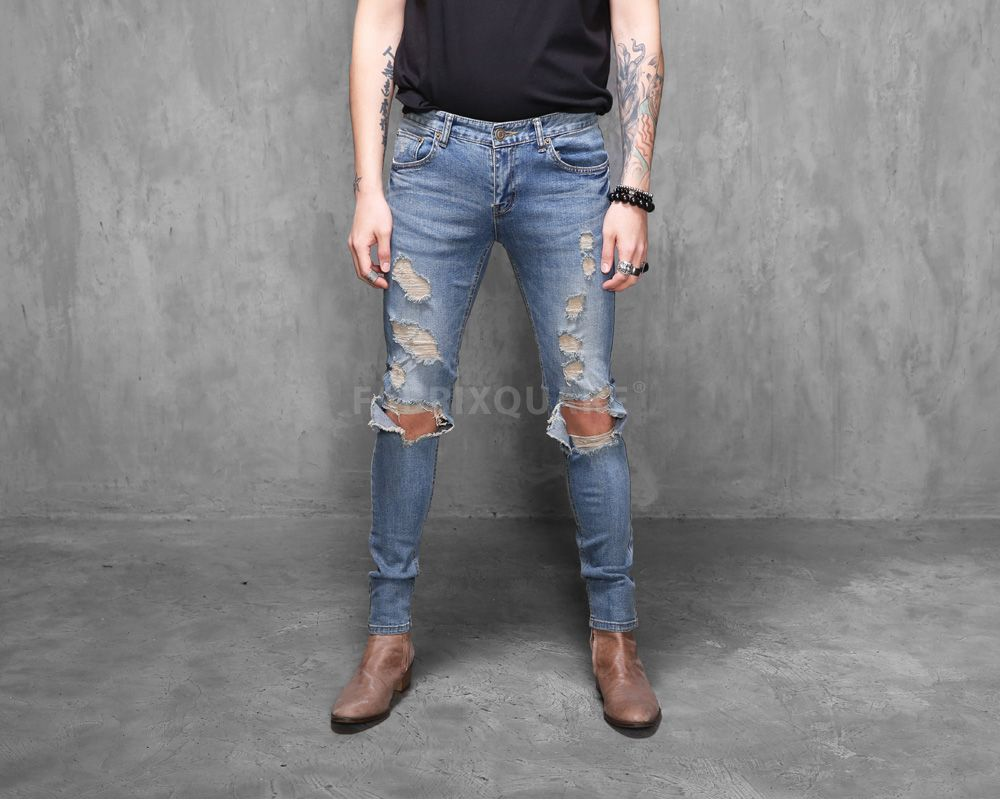 Mens SL Destroyed Denim Skinny Jeans at Fabrixquare $49 | Jeans ...