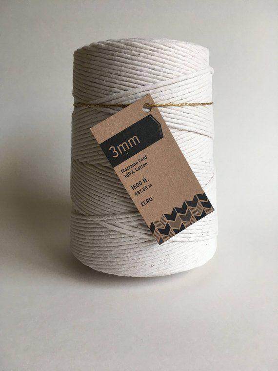 3mm Single Strand Macrame Cord Bulk 100 Cotton Fiber Art Rope Macrame Cord Macrame Macrame Supplies