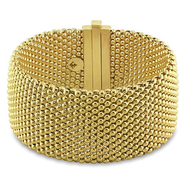 Miadora 18k Yellow Gold Mesh Look Bracelet (8,930 BAM) ❤ liked on Polyvore featuring jewelry, bracelets, gold bracelet bangle, 18k bangle, gold jewellery, 18 karat gold bracelet and bracelet jewelry