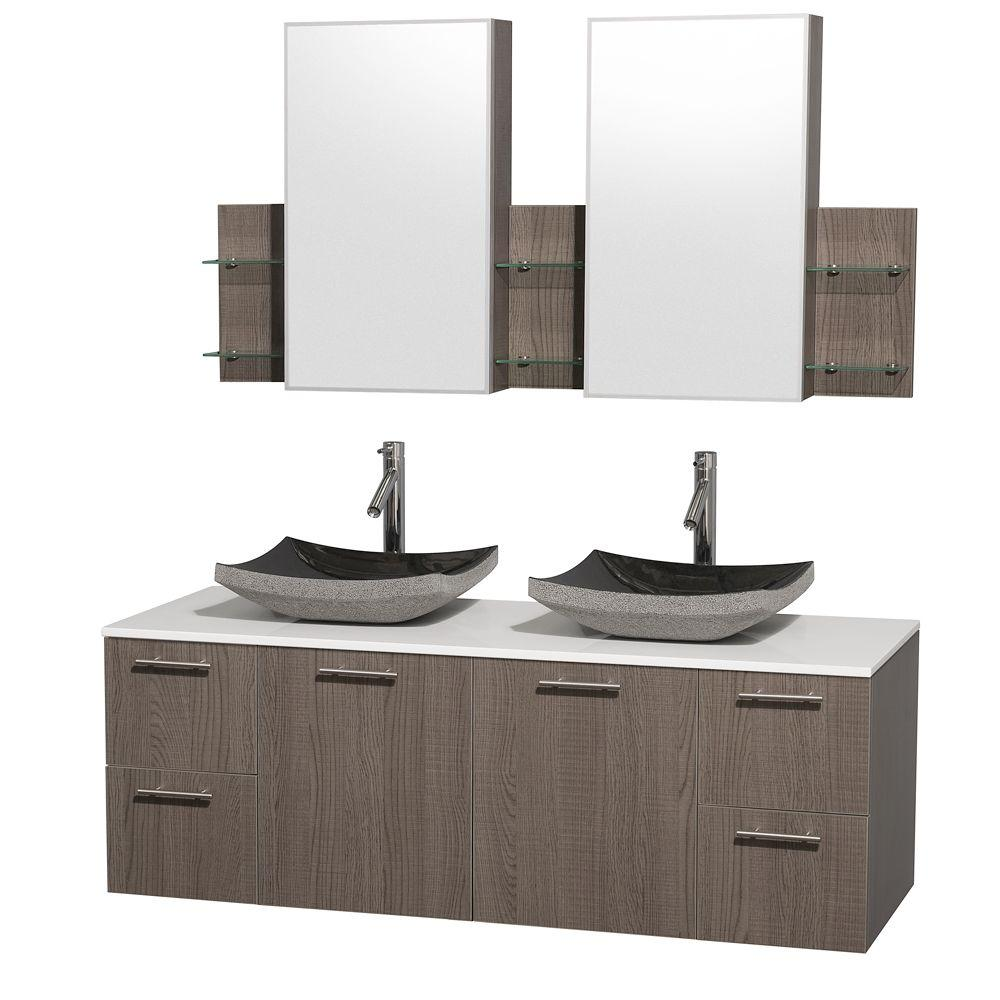 Wyndham Collection Amare 60 in. Double Vanity in Grey Oak with Man-Made Stone Vanity Top in White and Black Granite Sinks