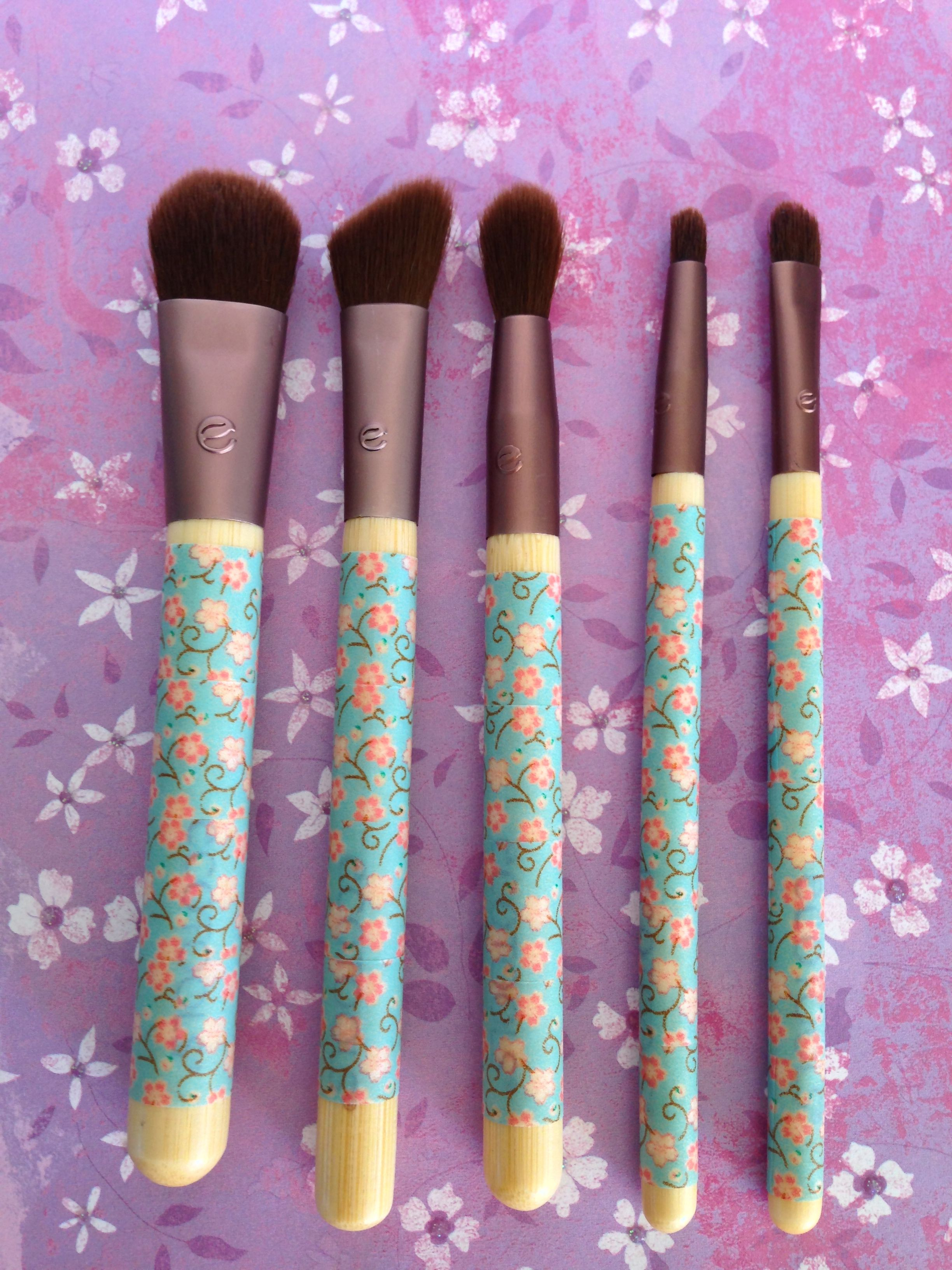 Washi tape wrapped makeup brushes. I used Ecotools