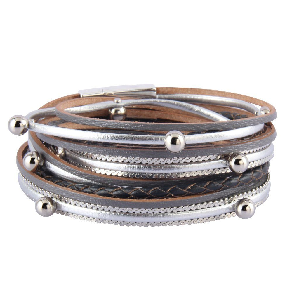 de021f35bf2 Jenia Women Leather Wrap Bracelet Silver Beads Multilayer Bracelets Cuff  Bangles Casual Handmade Jewelry Bohemian Gifts for Girls, Kids, Lady, ...