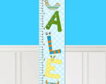 Canvas Growth Chart Monster Letters Alphabet Bedroom Baby Nursery Wall Art Gc0287